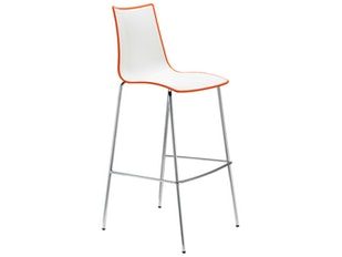 Barhocker Zebra Bicolore H.80 weiß/orange n-7863-5175 von Scab Design