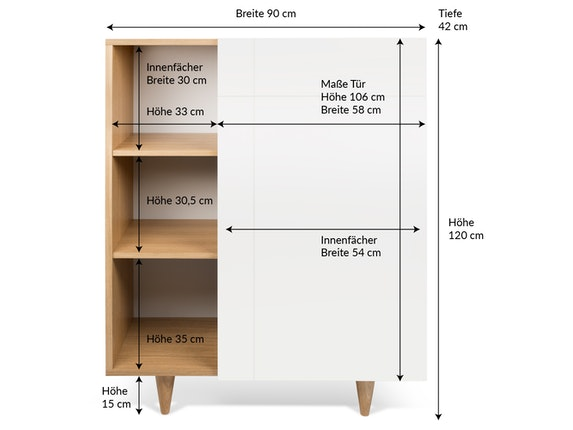 TemaHome Highboard Cruz mit Tür n-7735 - 10