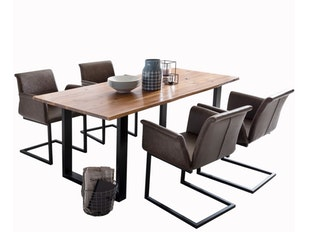 Design Esszimmergruppe Mit Baumkante Tisch Akazie Massiv Und Stühle Gaia  Tisch 160x85 + 4 Stühle