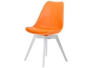 Designer orange Stuhl Bess Gina Beine weiß 2er Set n-8664-6175 von msp furniture