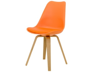Designer Stuhl Ella Gina Beine Eiche 2er Set orange n-8700-6307 von msp furniture
