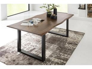 esstisch baumkante massiv akazie natur tischbeine schwarz 200 x 100 cm. Black Bedroom Furniture Sets. Home Design Ideas