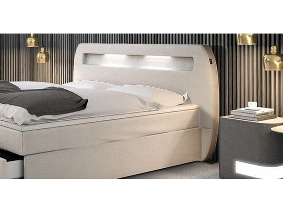boxspringbett marisa mit led beleuchtung wei 180x200 cm. Black Bedroom Furniture Sets. Home Design Ideas