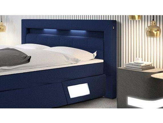 boxspringbett laxane mit led beleuchtung blau 180x200 innocent. Black Bedroom Furniture Sets. Home Design Ideas