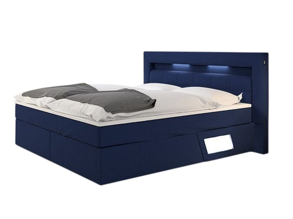 boxspringbett laxane mit led beleuchtung blau 180x200. Black Bedroom Furniture Sets. Home Design Ideas