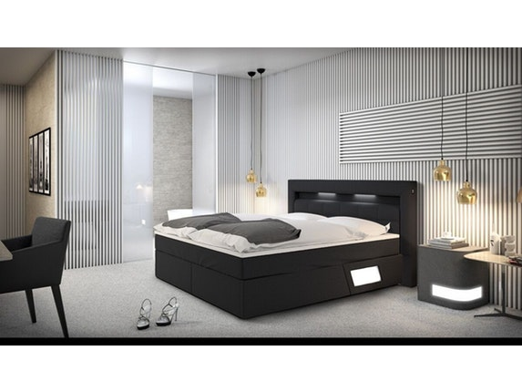 boxspringbett laxane mit led beleuchtung grau 180x200 cm. Black Bedroom Furniture Sets. Home Design Ideas
