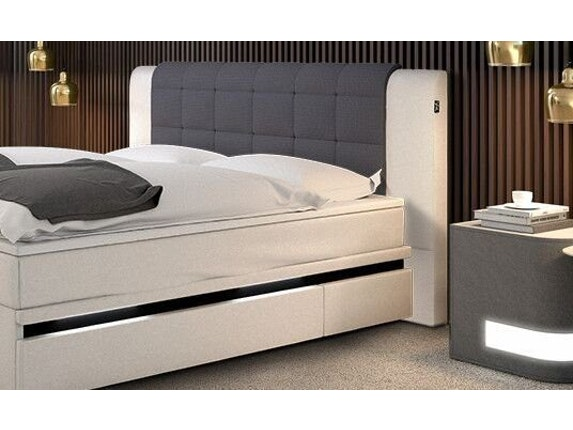 boxspringbett beluga mit led beleuchtung wei grau 180x200. Black Bedroom Furniture Sets. Home Design Ideas