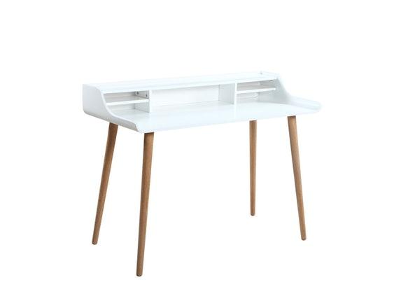 Schreibtisch design weiß  Retro-Design Schreibtisch mit Holzbeinen Weiß Malin » SalesFever ...