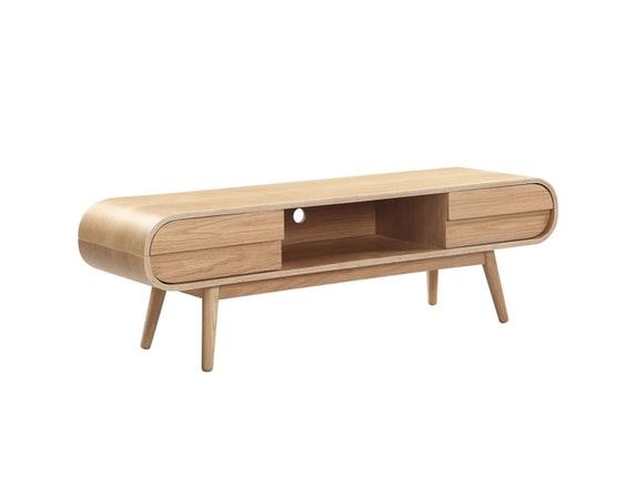vintage style tv lowboard mit holzbeinen holz eiche anniki. Black Bedroom Furniture Sets. Home Design Ideas