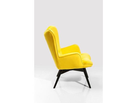 Sessel vicky mit samt stoff gelb for Sessel petrol samt