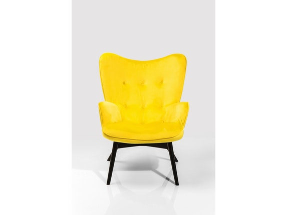 Sessel vicky mit samt stoff gelb for Sessel vicky