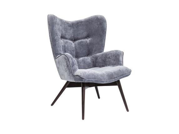 Sessel vicky mit samt stoff grau for Wohnzimmer sessel vintage