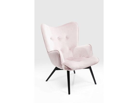 sessel vicky mit samt stoff rose. Black Bedroom Furniture Sets. Home Design Ideas