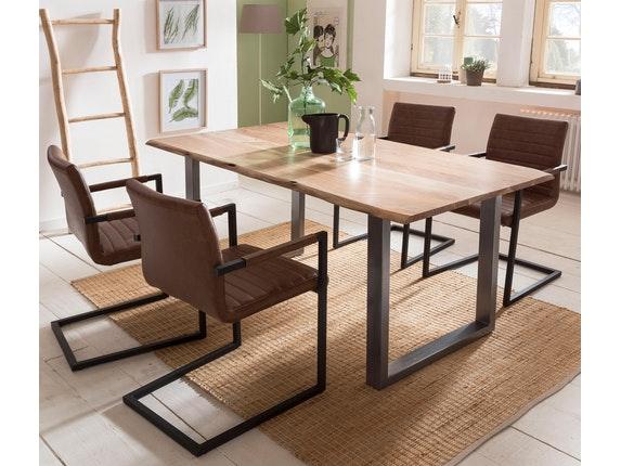 essgruppe mit baumkante tisch 160x85 cm natur silber akazie massiv und st hle alessia hellbraun. Black Bedroom Furniture Sets. Home Design Ideas