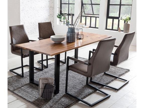 essgruppe mit baumkante tisch 160x85 cm cognac schwarz akazie massiv und st hle giada dunkelbraun. Black Bedroom Furniture Sets. Home Design Ideas