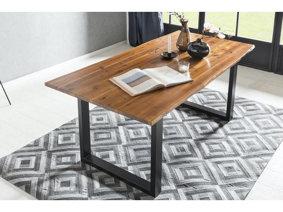 SalesFever Essgruppe Mit Baumkante Tisch Akazie Massiv Und Stühle Giada  Tisch 200x100 + 8 Stühle