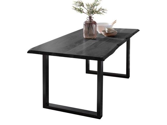 Esstisch Akazie Hell ~ Baumkante esstisch massiv akazie grau 160 x 85 cm tischbeine schwarz
