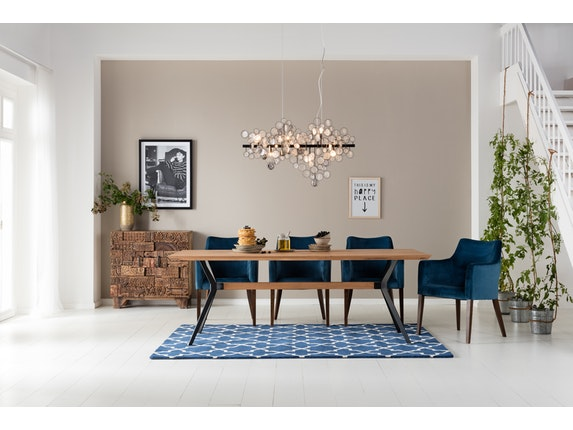 Esszimmer armlehnstuhl polsterstuhl mode velvet petrol by for Armlehnstuhl design