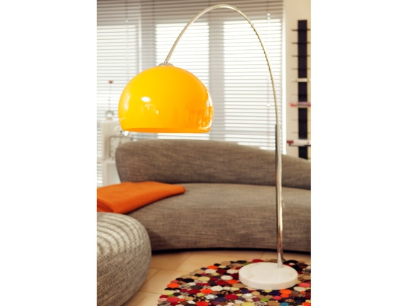 SalesFever Bogenlampe Big Deal mit Marmorfuß orange 1446