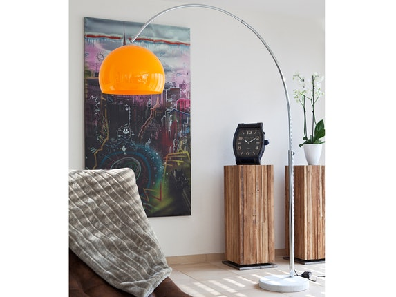 SalesFever Bogenlampe Big Deal mit Marmorfuß orange 1446 - 2