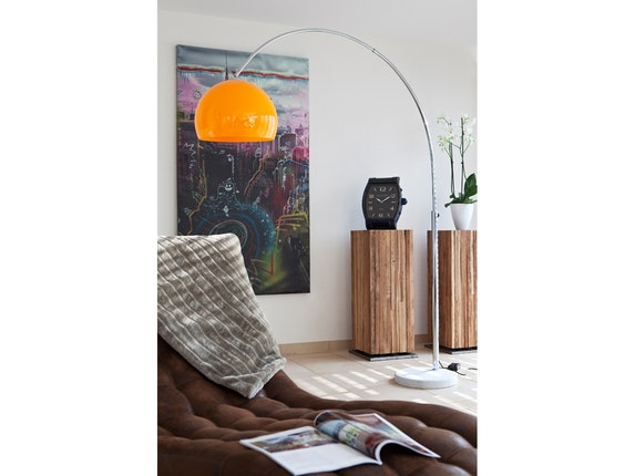 SalesFever Bogenlampe Big Deal mit Marmorfuß orange 1446 - 6