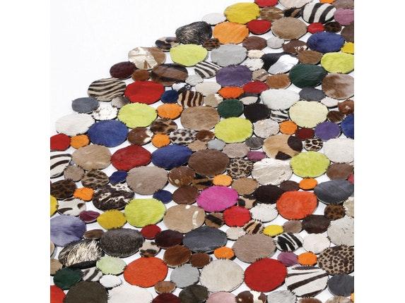 teppich circle multi im tierfell look rund 150 cm kare. Black Bedroom Furniture Sets. Home Design Ideas