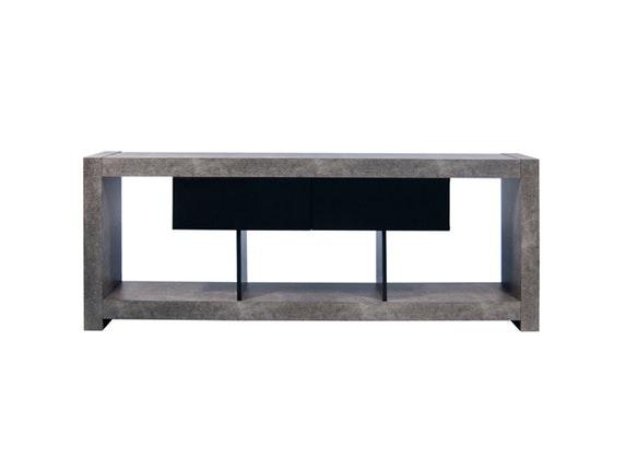 tv tisch nara mit 2 schubladen betonfarbig schwarz temahome. Black Bedroom Furniture Sets. Home Design Ideas