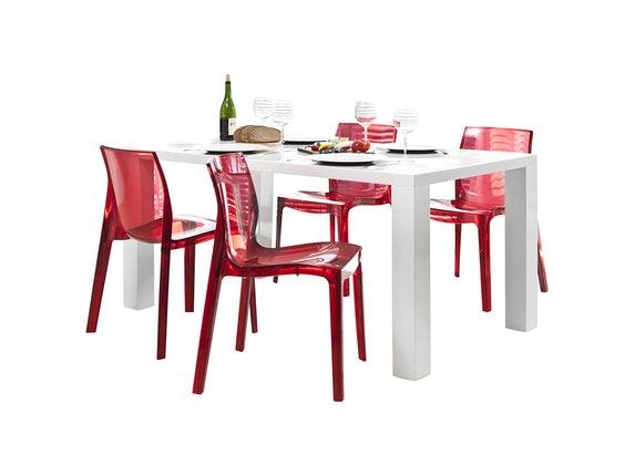 Design Stühle essgruppe luke 160x90cm 4 design stühle sari rot transparent