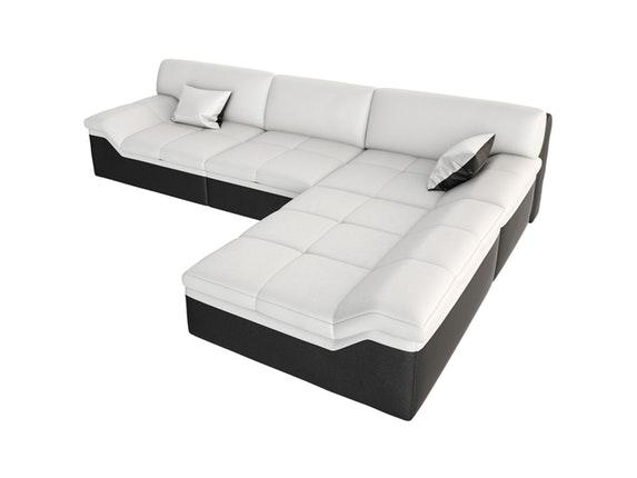 ecksofa wei e sitzfl che barari l ottomane rechts. Black Bedroom Furniture Sets. Home Design Ideas