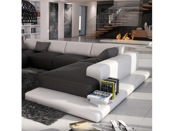 wohnlandschaft mit ablagefl che sallini schwarz wei innocent. Black Bedroom Furniture Sets. Home Design Ideas