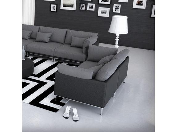 sofa 2 sitzer farggi beine edelstahl kunstleder schwarz. Black Bedroom Furniture Sets. Home Design Ideas