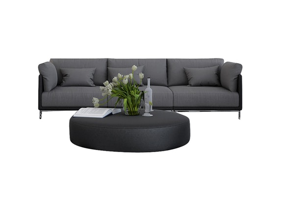 sofa 3 sitzer farggi beine edelstahl kunstleder schwarz stoff grau innocent. Black Bedroom Furniture Sets. Home Design Ideas