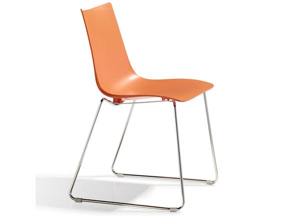Designer stuhl zebra technopolymer sledge orange scab for Design stuhl orange