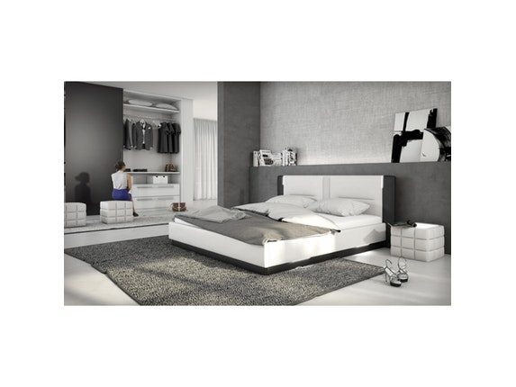 polsterbett salero led mit lattenrost und matratze. Black Bedroom Furniture Sets. Home Design Ideas