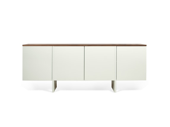 sideboard edge mit 4 t ren wei matt platte nussbaum. Black Bedroom Furniture Sets. Home Design Ideas