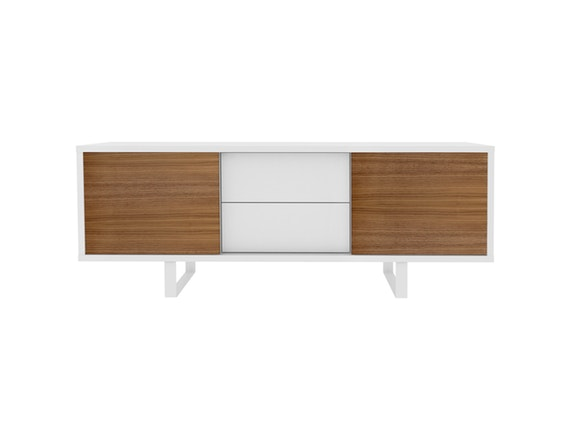 sideboard slide 2 schubladen 2 schiebet ren wei matt nussbaum temahome. Black Bedroom Furniture Sets. Home Design Ideas