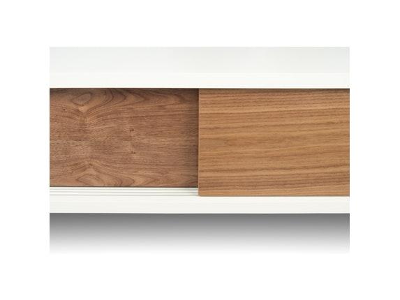 tv tisch slide mit 2 schiebet ren wei matt nussbaum temahome. Black Bedroom Furniture Sets. Home Design Ideas