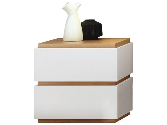 Nachttisch Nussbaum Weis ~ Nachttisch slot 003 mit 2 schubladen weiß matt eiche » temahome