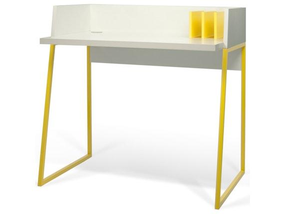 schreibtisch volga mit ablagen wei matt gelb temahome. Black Bedroom Furniture Sets. Home Design Ideas