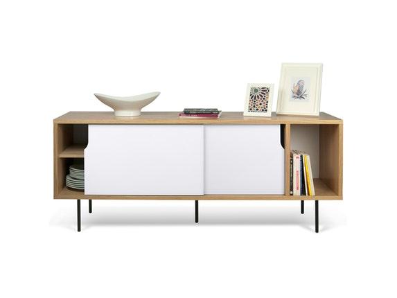 sideboard dann eiche mit schiebet ren wei mit metallf en temahome. Black Bedroom Furniture Sets. Home Design Ideas