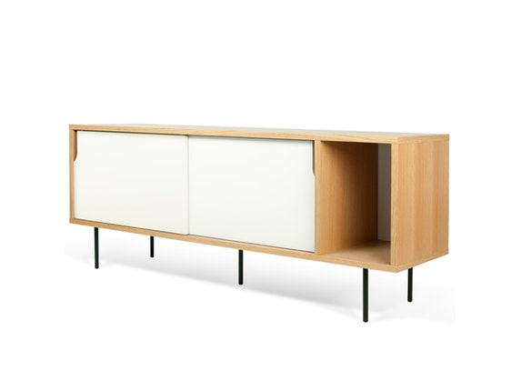 sideboard dann eiche mit schiebet ren wei mit metallf en temahome. Black Bedroom Furniture Sets. Home Design Ideas