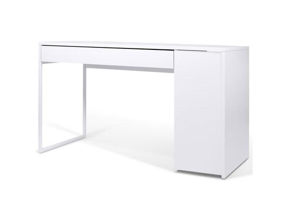 Schreibtisch Prado mit Schublade weiß/Stahl weiß » TemaHome ...