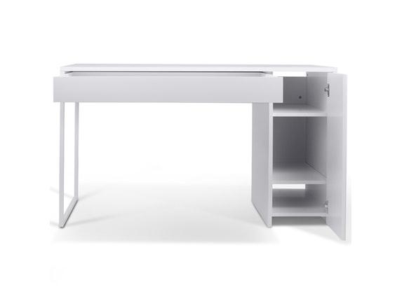 schreibtisch prado mit schublade wei stahl wei. Black Bedroom Furniture Sets. Home Design Ideas