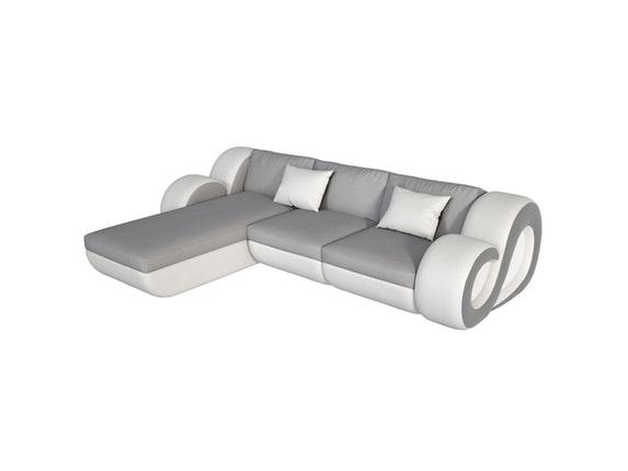 ecksofa nesta kunstleder mit led grau wei innocent. Black Bedroom Furniture Sets. Home Design Ideas