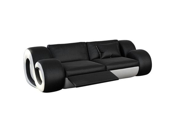 sofa 2-sitzer nesta mit led schwarz/weiß - Schwarz Wei Sofa