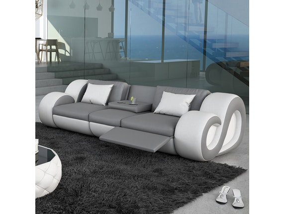 sofa 3 sitzer nesta mit funktion und led grau wei innocent. Black Bedroom Furniture Sets. Home Design Ideas