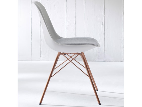 Designer stuhl porgy grace beine kupfer 2er set wei for Designer stuhl grau