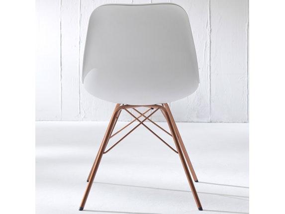 Designer stuhl porgy grace beine kupfer 2er set wei for Stuhl 4 beine