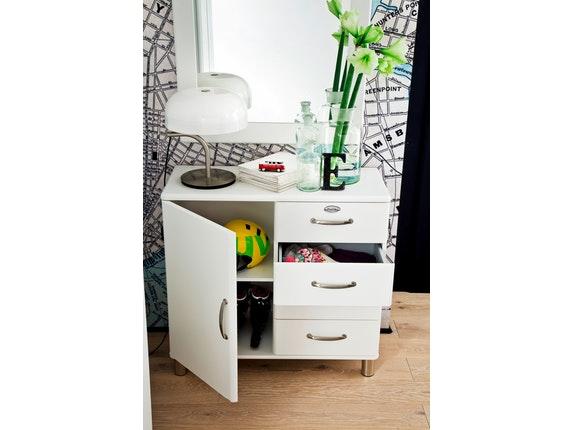 kommode malibu mit 1 t r 4 schubladen wei. Black Bedroom Furniture Sets. Home Design Ideas