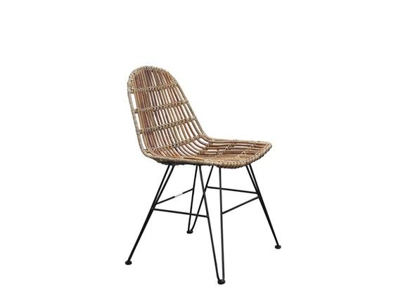 stuhl rattan vintage mit metallbeinen natur sit m bel. Black Bedroom Furniture Sets. Home Design Ideas